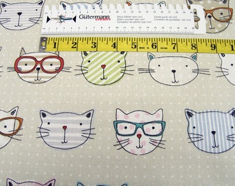 Deco Canvas Fabric Clarke & Clarke Cat with glasses Cotton fabric 0.54yd (0.5m) 002610