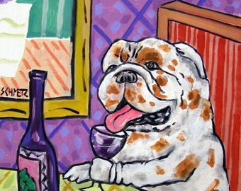 25% off bulldog art - Bulldog at the wine bar dog art print 11x14 signed