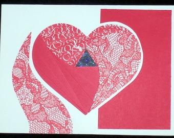 Designs by Denise - Iris Fold Card - Heart Cutout
