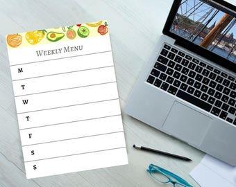 A4 pdf Digital weekly menu planner, weekly meals, weekly meal planner, Printable meal planner