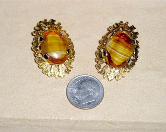 Signed Sphinx Vintage Art Glass Clip On Earrings 1960's Jewelry 6005