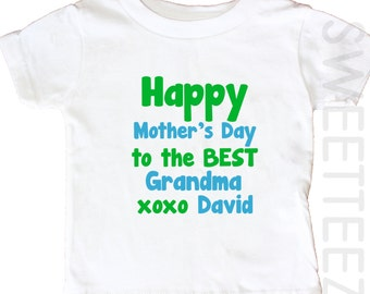 Happy Mother's Day Grandma Kids Shirt Baby Bodysuit Personalized
