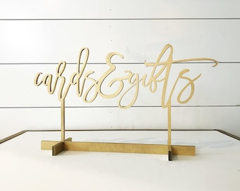 Cards and Gifts sign, modern script table number, Freestanding table numbers, calligraphy table numbers, wedding table numbers, gold table