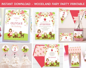 Woodland Fairy INVITATIONS, Instant download Fairy Printable, Fairy party package, Woodland Fairy Party, Fall Fairy Party Package