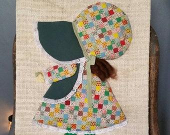 Holly Hobbie Style Wall Hanging/Handmade Unique Wall Art/One of a Kind/Vintage 3D Art/Prairie Girl/Bonnet Girl/Nursery/Baby Shower Decor