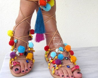 "Pom pom sandals/Tie Up Gladiator Sandals-FREE SHIPPING- ethnic /Wrap up sandals /Lace up greek leather sandals /handmade sandals ""ANEMONE"""