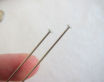 "8"" x 19 gauge, Stainless Steel Hat Pins, 3mm dia Head - Available in 2, 4, 6 & 10 Pin Pkgs and also in Larger Pkgs"