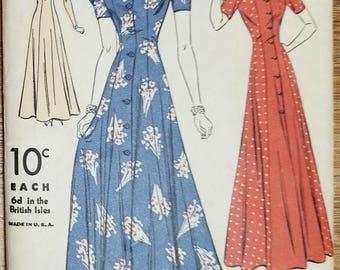 "Vintage 1930s Housecoat or Dress DuBarry Pattern 2317B Size 12 Bust 30"""