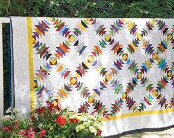 Queen Sized Bed Quilt in Pineapple Pattern