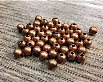 5mm Round Antique Copper Beads, 50 pieces, 5mm Antique Copper, 5mm Copper Metal, 5mm Round Copper, Antique Copper Spacer, Copper Metal Ball