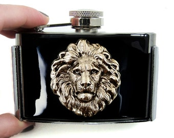 Lion Head Flask Belt Buckle Inlaid in Hand Painted Black Glossy Enamel Neo Victorian Safari Inspired with Personalized and Color Options