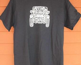 JEEP Tribal Tattoo T-Shirt  - BLACK with WHITE imprint