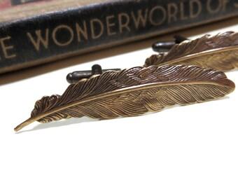 Antiqued Brass Feather Cufflinks - Soldered Cuff Links - Harry Potter wingardium leviosa