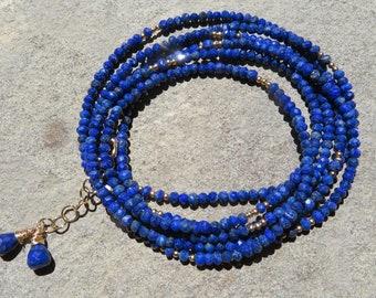 Lapis Wrap Bracelet, Lapis Wrap Necklace, Lapis Jewelry, Multi Strand Lapis Jewelry, Wrap Jewelry, Lapis and Gold Jewelry, Gemstone Jewelry