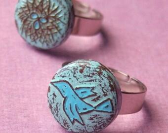 Mother Daughter Ring Set, Rustic Pastel Blue Bird Ring, Bird Nest Ring, Mother Daughter Gift, Wife Daughter Gift, Gift to Daughter from Mom