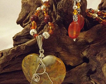 Crazy Lace Agate Pendant Necklace and Earrings:  Crazy, Man