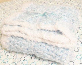 BLANKET SALE Hand Crocheted Baby Blanket Light Blue n White Fluffy Handmade  30 x 36 Boy Afghan Distinctly Daisy