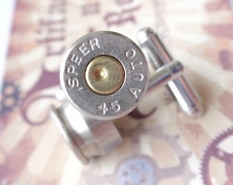 Bullet Cufflinks 45 SPEER two tone (Silver & Gold) Up Cycled  Repurposed bullet shell Cuffl Links .45 caliber