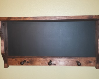 Chalkboard  coat rack,  coat rack, wall hanging, antique style coat rack, shaker pegs, hat rack, wood, rustic coat rack, handmade