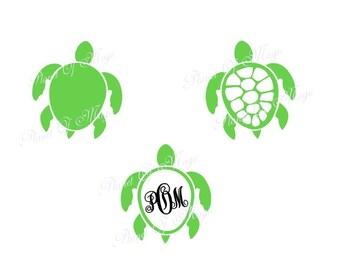 Sea Turtle SVG File, Turtle Monogram Svg, Sea Life Svg,Turtle Cutting File, Turtle Monogram DXF, Turtle DXF Silhouette, Digital File, Cricut