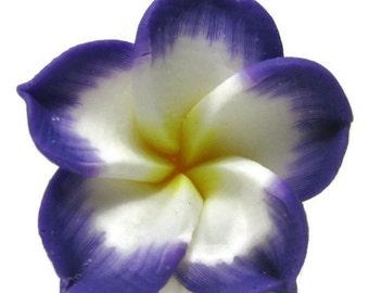 21mm Purple Polymer Clay Plumeria Flower Beads set of 4 (P16)
