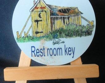 Restroom Key with easle