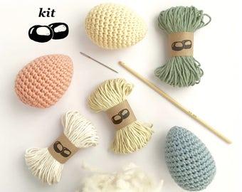 Kit oeufs au crochet / kit crochet décorations de Pâques / patron crochet en français / kit crochet