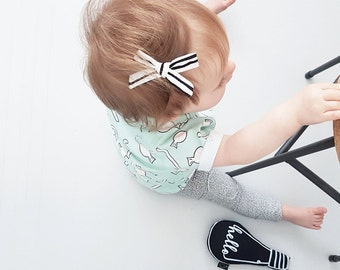 Striped Bow - Baby Bow - Hand Tied Bow - SchoolGirl Bow - Girls Hair Accessories