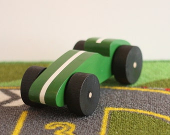 Toy Wooden Green Race Car - Handcrafted Wooden Green Toy Race Car with White Stripe and Black Wheels - Green Race Car with White Stripe
