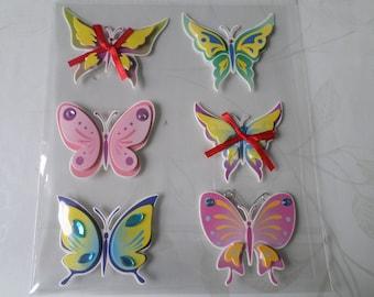 x 1 Santa Claus stickers decals 3D butterflies multicolor