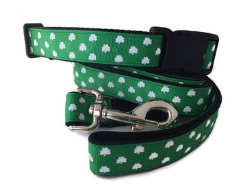 Dog Collar and Leash, Luck of the Irish, 1 inch wide, 6ft, adjustable, quick release, metal buckle, chain, martingale, hybrid, nylon