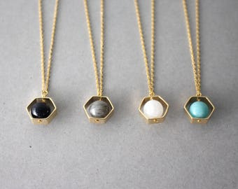 Gemstone necklace, hexagon gemstone necklace, stone necklace, geometric necklace, gold hexagon necklace