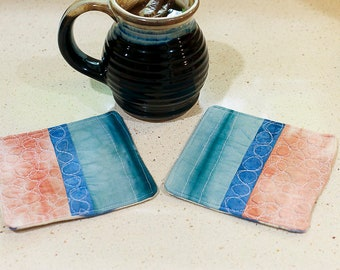 Quilted Mug Rugs, Shibori Coasters, Hand dyed, hand made, free motion quilted coasters