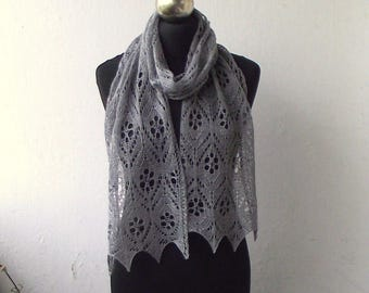 Grey hand knitted beaded lace scarf