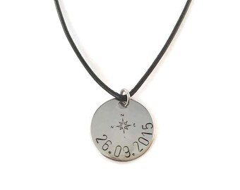 Compass necklace name date stainless steel