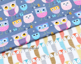 Owls Cotton Fabric Pastel Colors Cartoon Owls Nursery Cotton For Kids Children- 1/2 Yard