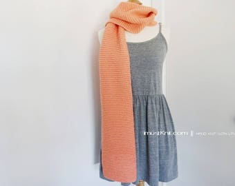 hand knit scarf || knitted chunky scarf || knit winter scarf | long garter scarf || handknit gift for unisex -salmon color 8 x 75''