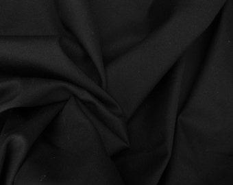 BLACK Cotton Twill Spandex Fabric 4 Way Stretch Fabric by the Yard