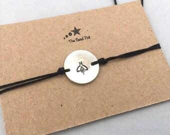 Initial bracelet, personalised bracelet, stamped charm, silver plated disc, customised letter bracelet, dainty bracelet, adjustable bracelet