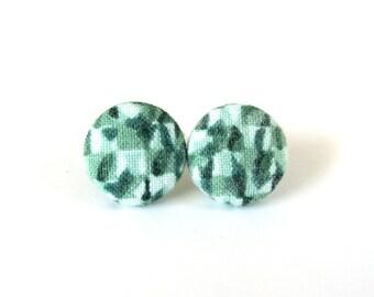 Spring jewelry - birthday gift for her - women jewelry - nickel free stud earrings - dark green button earrings - emerald fabric earrings