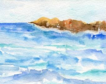Aruba watercolor painting original 4 x 6 watercolor painting of rocky Aruba coast seascape, Aruba beach, original ocean art Caribbean