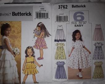 2 Uncut Girls Dresses Sewing Patterns Butterick 3762 & 4967 Sizes 2, 3, 4, 5