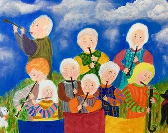 Folk art print of original acrylic painting of clarinet group