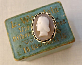 Antique Cameo Shirt Stud Gold Silver Victorian