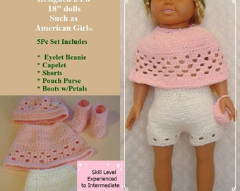 """0100 Winter Patience,Doll Pattern,18"""" American Girl and Similar dolls,Hat,Capelet,Shorts,Boots with Bow by CarussDesignZ"""