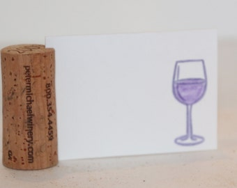 Wine Cork Recycled Place Name Card Holder Set of 8