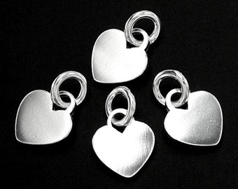 4 of 925 Sterling Silver Heart Charms 7.5 mm. :th2260
