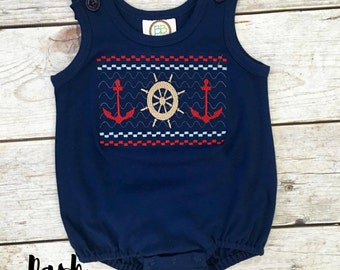 Lost at Sea Smock Bubble, Baby Boy outfit, Anchor, Summer, Spring, Beach, Beach Outfit