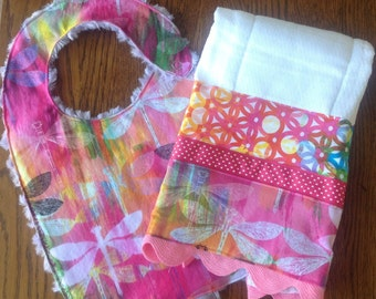 ANNUAL BIB SALE - Pink and Purple Dragonfly Minky Baby/Toddler Bib and Burp Cloth Set - Until the End of April