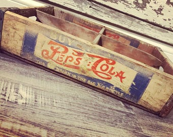Vintage Very Rare 1940's Double Dot Buy Pepsi Cola Wood Soda Crate Lincoln Nebraska